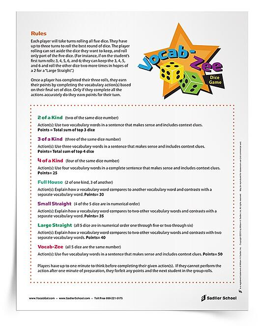 My students love playing dice games to learn vocabulary words and I have a feeling this Yahtzee™-inspired vocab game will be a big hit!