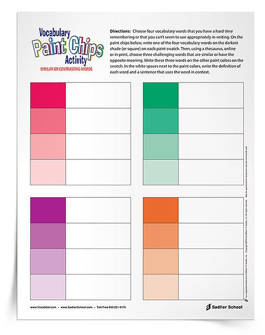 With my vocabulary paint chips handout, students have more room to review definitions and contextual sentences than on an actual paint strip, plus they are not struggling with the text of the paint chips themselves.