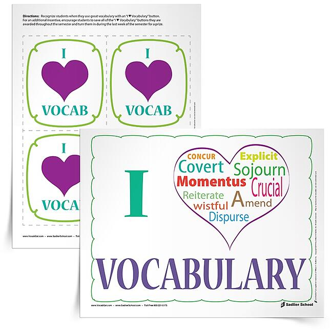 "I have several great vocabulary rewards for students including the Vocabulary Superstar Certificate, the Shining Star Template, and the ""I ♥ Vocabulary"" Handout & Button. Each of these downloads can be printed on colored paper or cardstock and can often make a student's day or week brighter!"