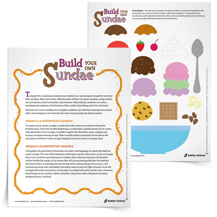The only possible problem with this summer vocabulary worksheet is that students may not be content with making fake ice cream sundaes and may need to eat their own after they finish writing about their paper ones.  With this delicious vocabulary activity students will concoct and assemble delectable ice cream sundaes based on vocabulary words!