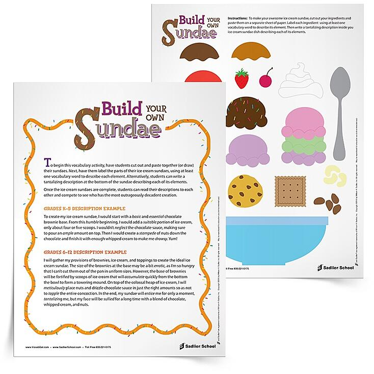students can read their descriptions to each other and compete to see who has the most outrageously decadent creation. You may want to give out prizes in this vocabulary word game to those who create the silliest, yummiest or most disgusting concoction.