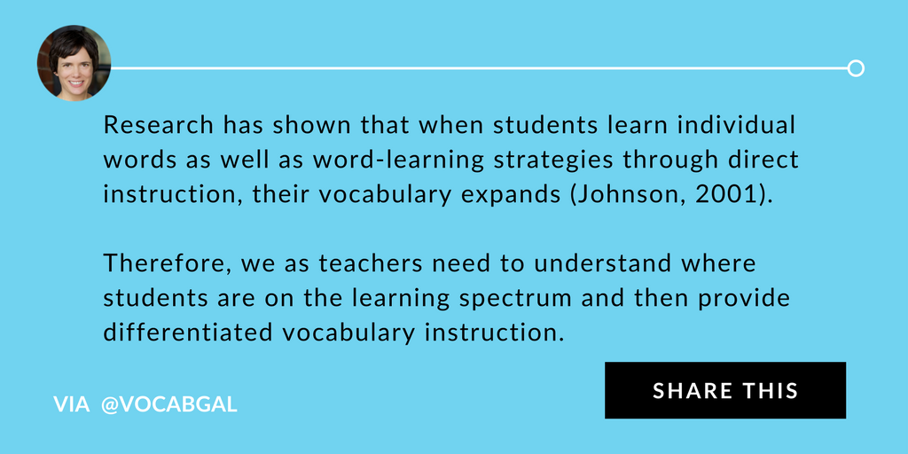 Research has shown that when students learn individual words as well as word-learning strategies through direct instruction, their vocabulary expands (Johnson, 2001). Therefore, we as teachers need to understand where students are on the learning spectrum and then provide differentiated vocabulary instruction.
