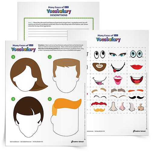 With the Many Faces of Vocabulary Activity students will piece together fun and interesting faces and then describe each feature using vocabulary words.
