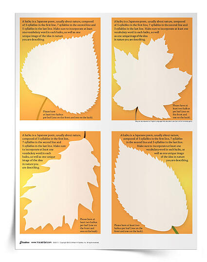 Have students compose nature haikus with the Falling into Haikus Vocabulary Activity. Instruct students to use precise vocabulary words and vivid imagery in their writing. Once completed, hang the nature haikus around the classroom!
