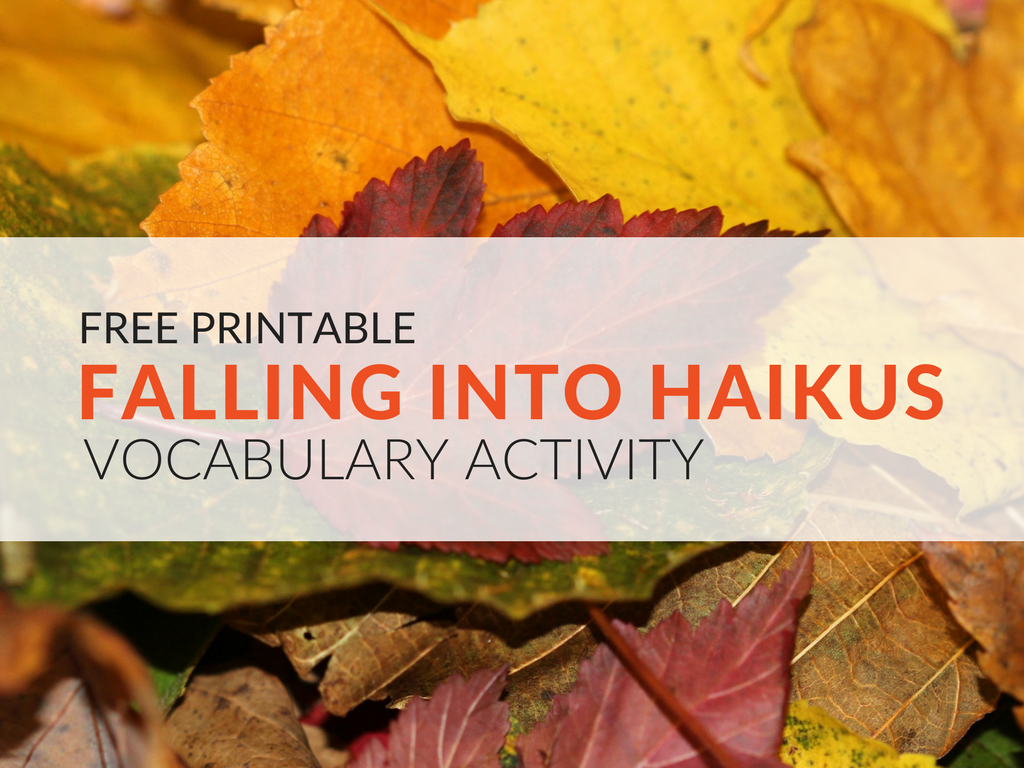 Free poetry worksheet! Have students compose nature haikus with the Falling into Haikus Vocabulary Activity. Instruct students to use precise vocabulary words and vivid imagery in their writing. Once completed, hang the nature haikus around the classroom!