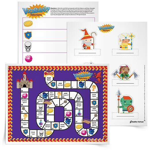 This game is great for any student who loves videogames or role-playing, students get to create the actions players take in this game by including vocabulary words in directions for each icon on the path.
