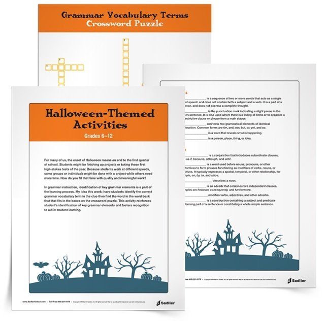 The Halloween Grammar Vocabulary TermsCrossword Puzzle reinforces student's identification of key grammar elements and fosters recognition to aid in learning! With the crossword puzzle students will identify the correct grammar vocabulary term in the clue then find the word in the word bank that fits in the boxes on the crossword puzzle.