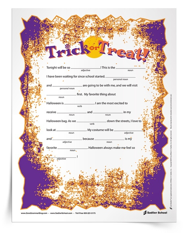 Assess how well your students know personal pronouns, adjectives, verbs, and nouns with a simple Halloween Mad Libs printable. With this activity students will have fun while practicing different parts of speech.