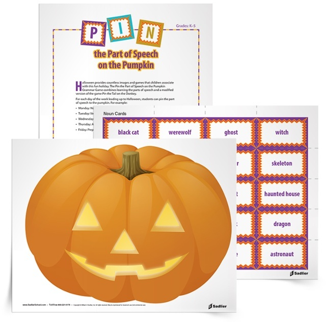 Looking for a classroom Halloween game that will be fun AND educational for students? The Pin the Parts of Speech on the Pumpkin game combines learning the parts of speech and a modified version of the game Pin the Tail on the Donkey.
