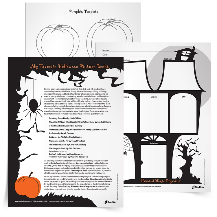 Harness the enthusiasm students have for Halloween and get them reading! Download the Halloween Reading Resources and use them with students as you read your favorite spooky stories throughout the month. These Halloween language arts worksheets include a list of Halloween picture book recommendations, a Haunted House Story Map, and a Pumpkin Template for taking notes.