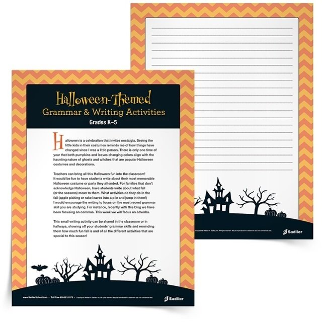 With the Halloween-Themed Writing Activity teachers can bring the Halloween fun into the classroom! Use the printable Halloween language arts worksheets to have students write about their most memorable Halloween costume, party, or tradition. For families that don't acknowledge Halloween, have students write about what fall activities they like most (apple picking, raking leaves, hayrides).