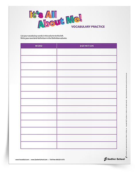 I find that students tend to be more engaged in an assignment if they are asked to answer questions about themsleves than a generic worksheet. My new It's All About Me Vocabulary Activity tasks students with answering a series of questions about themselves using vocabulary words in context.