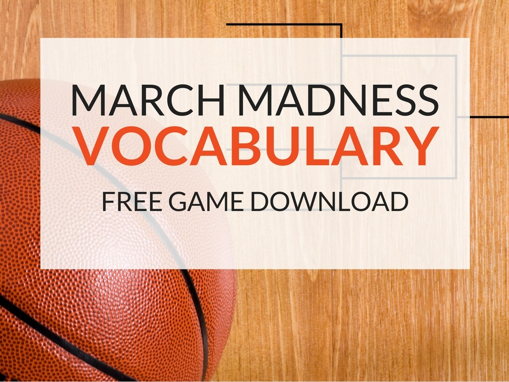 """A printable vocabulary lesson plan inspired by March Madness! Have students fill out brackets for vocabulary words and let them decide the """"ultimate vocabulary word"""" in the categories of nouns, verbs, and adjectives. With Bracket Battles, my March Madness inspired vocabulary game, students will learn vocabulary autonomously as they each control their own bracket. Plus, they will review parts of speech and practice using words in the correct context!"""