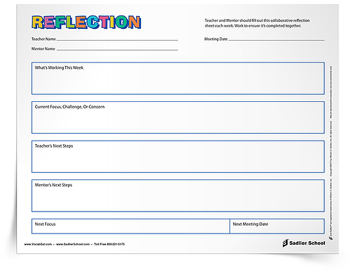 An important part of mentoring is the reflection that comes with talking over educational problems, big and small. Taking time to discuss what works and doesn't work is how beginning teachers become master educators.  Download a collaborative reflection worksheet that mentors and teachers can fill out together each week. Using a reflection worksheet allows both the mentor and the teacher to track progress, take steps to correct problems, and to look back later in order to identify patterns over time.