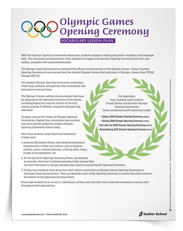 Engage students in writing about the XXIII Olympic Winter Games using their vocabulary and language skills with this free lesson plan plus handouts and reproducibles!