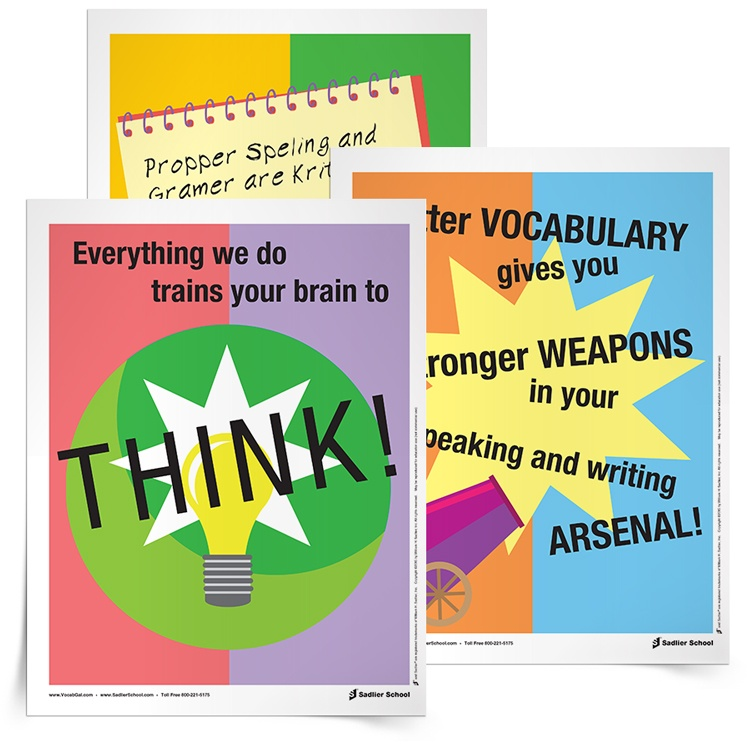 """I also have created some awesome Back-to-School Posters that I love to have in my room, in order to answer the inevitable questions """"Why do we have to do ____ activity?"""" and """"Why do I have to learn a new word if I already know this synonym?"""" I like to just point to my posters — 'nuff said."""