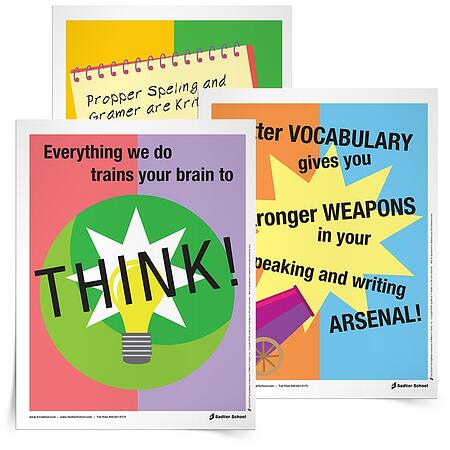 "I also have created some awesome Back-to-School Posters that I love to have in my room, in order to answer the inevitable questions ""Why do we have to do ____ activity?"" and ""Why do I have to learn a new word if I already know this synonym?"" I like to just point to my posters — 'nuff said."