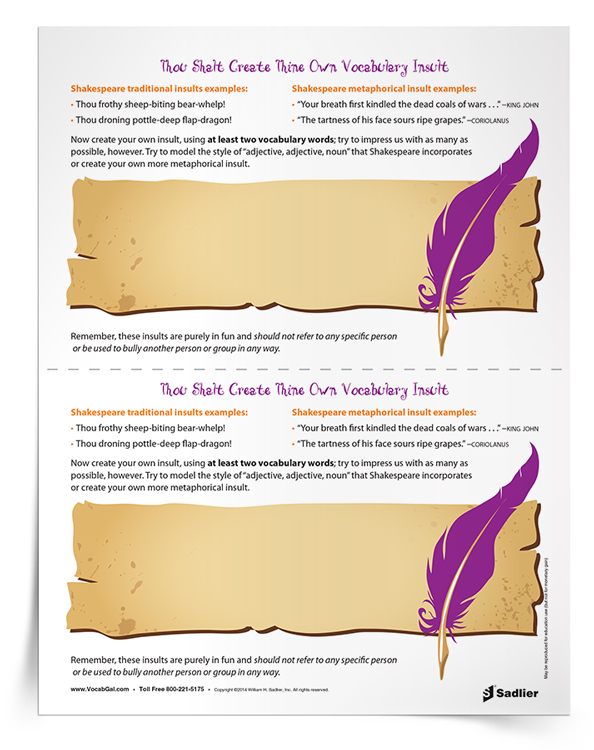 In honor of Shakespeare's birthday on April 23rd have students create Shakespeare-like insults*, but with vocabulary words! This silly Shakespeare lesson plan will not only get students reviewing vocabulary words, but is designed to get students to feel more comfortable with Shakespeare's language.
