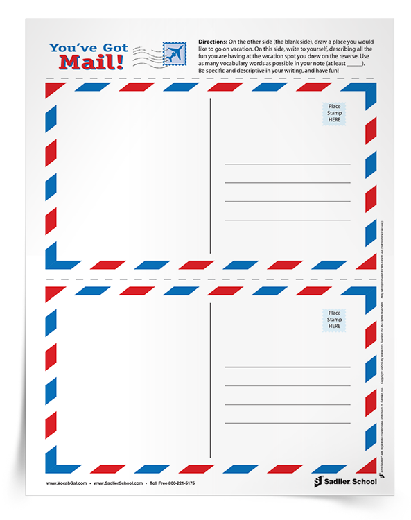 """This week's summer vocabulary worksheet download is a postcard template that you can copy onto cardstock. Students decorate the front of their postcard with a scene from an imaginary vacation, and on the back, write to themselves about their """"vacation"""" using as many vocabulary words as possible."""
