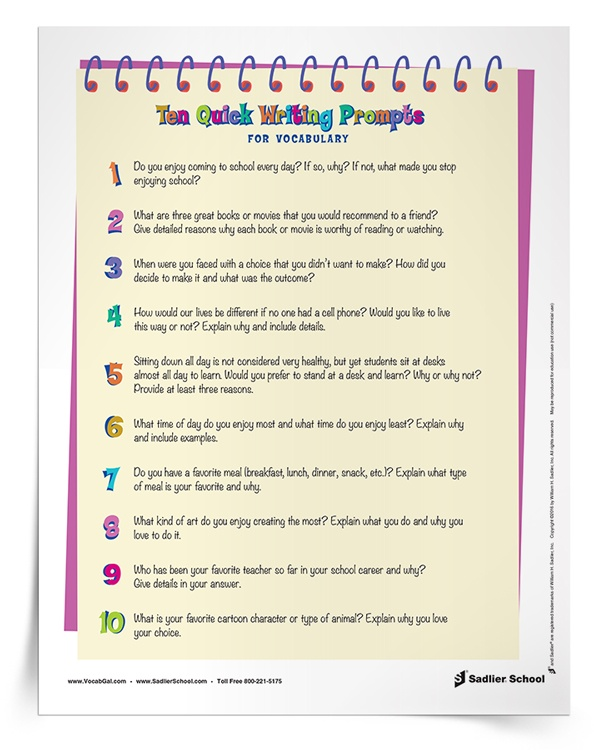 This summer, keep students writing and using vocabulary words with writing prompts! With this summer vocabulary worksheet, students will have a list of writing prompts to answer. Encourage students to incorporate at least two vocabulary words into each of their quick write responses so you can assess their word knowledge. When the writing prompts run out, have learners create their own!