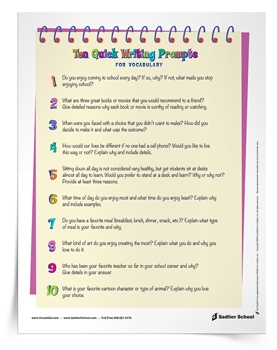 10 Quick Write Prompts for Vocabulary