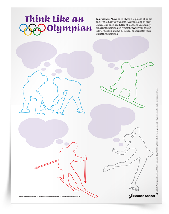 This simple Olympic vocabulary activity will get students engaged in word learning while reflecting on the hard work of Olympic athletes. TheThink Like an Olympian Activity worksheet features five Olympains with thought bubbles. Above each Olympian, students will fill in the thought bubble with what the athletes are thinking as they compete in their sport. Students can be silly or serious, but they must use at least one vocabulary word per Olympian and all descriptions mush be appropriate. After each thought bubble has been filled, students can color each of the Olympians.