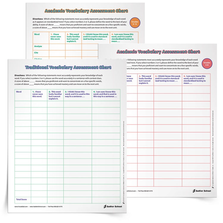 First, have teachers use the Vocabulary Inventory and Assessment so that they and their students have a sense of which academic and vocabulary words students already know and which ones they don't know.
