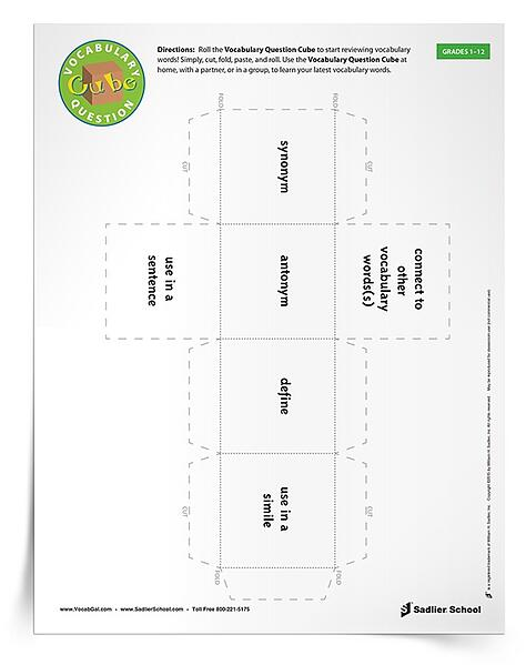 An alternate to the toss and catch Vocabulary Question Cube, is my printable cube template.  With this worksheet students can cut and paste together their own cube for playing in small groups or at home!  What I like about this template is that it allows students to make up their own versions of the Vocabulary Question Cube activity.