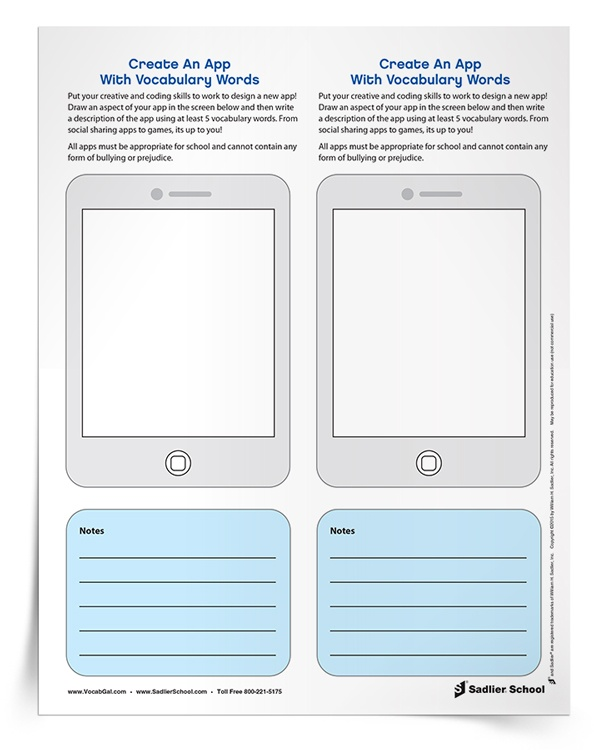 Vocabulary Homework Idea: Put students' vocabulary and coding skills to the test! With the Create An App With Words Vocabulary Activity students will design an app and then write a description using at least 5 vocabulary words!