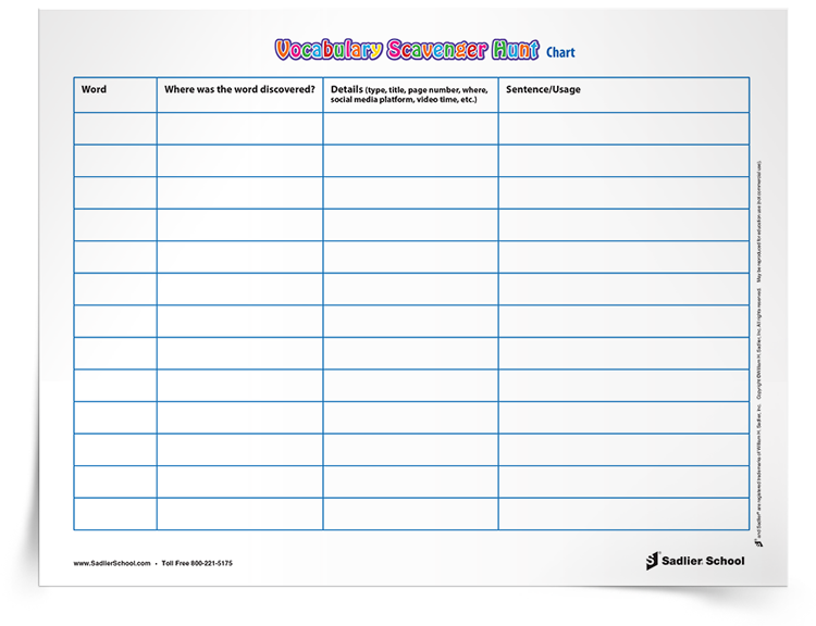 The Vocabulary Scavenger Hunt Activity challenges students to take the time to discover words by looking and listening in their everyday life, and finding them in a variety of contexts!