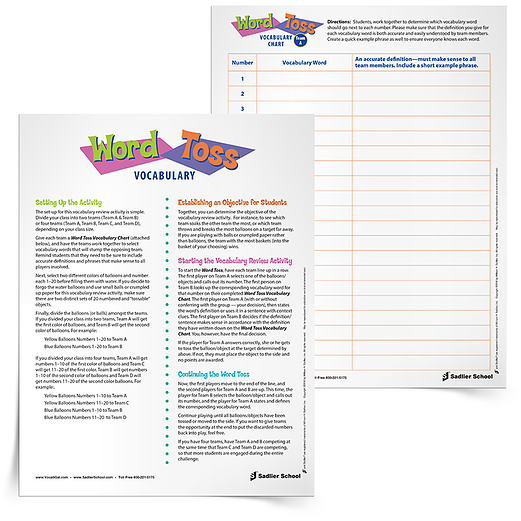 You'll find that filling out the chart for this activity actually serves as a great review for students by itself. As the teams fill out their charts, students have to really consider words and their meanings.