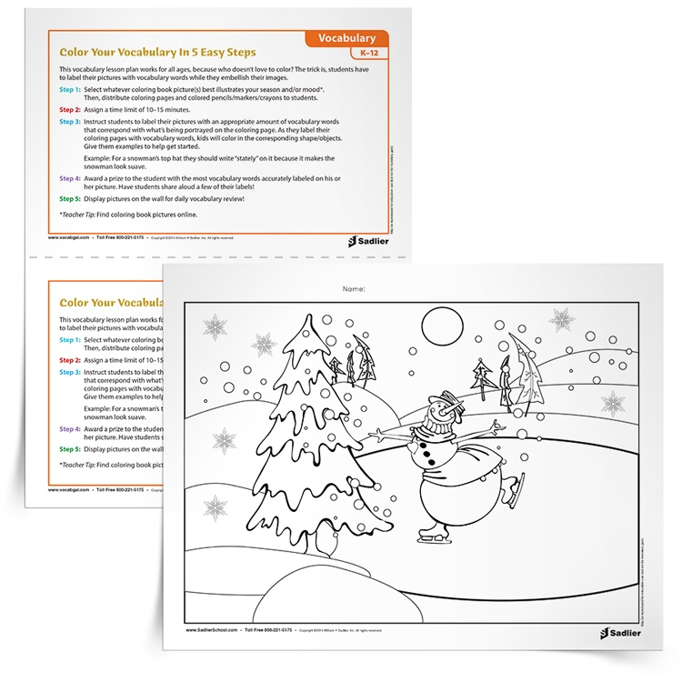 This vocabulary activity will relax students while recharging their minds! The trick is, students have to label their snowman worksheet with as many vocabulary words as they can. Each vocabulary word should correspond with what's being portrayed on the coloring page. As they label the various elements on their page, kids will color in the corresponding shape/objects.