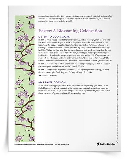 The Easter: A Blossoming Celebration is a downloadable Easter-themed prayer experience and activity. In this combination prayer service and art activity, young people in the intermediate grades are invited to joyfully and prayerfully celebrate the new life in Jesus Christ during the Easter season. It is based on the Scripture passage in which the risen Jesus appears to Mary Magdalene, as well as beautiful imagery from the Book of Isaiah and Song of Songs.  a-blossoming-celebration-easter-prayer-service-and-activity-750px