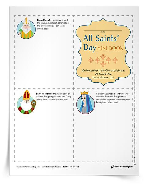 Complement your All Saints' Day lessons and celebrations with a printable activity for primary aged students. This All Saints' Day for Kids Mini Book can be used in the classroom or at home.
