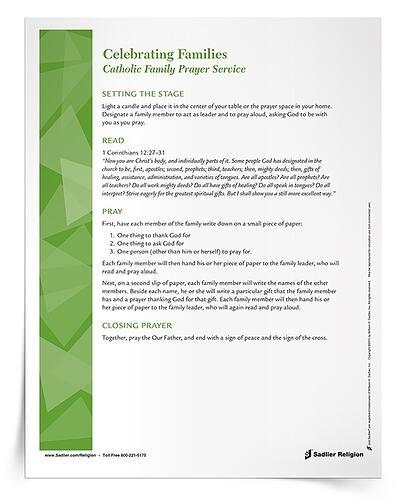 Help family members strengthen their relationship with one another and with God through family prayer by taking part in a Catholic Family Prayer Service this summer. Families are invited to consider one thing to thank God for, one thing to ask God for, and one to pray for as they participate in the prayer service.