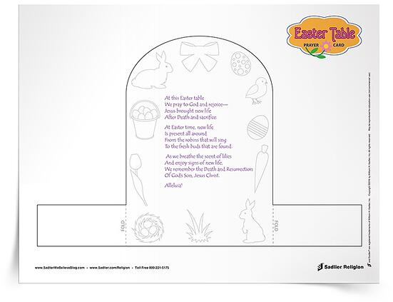 Of course, one of the special ways we celebrate Easter is by sharing a meal. The children will enjoy making a Easter meal prayer for the table to share with family and friends. This printable Easter Table Prayer Card can be decorated by the children in your religious education program and used on Easter Sunday or before meals shared during the Easter season. The Easter Table Prayer Card highlights the signs of new life that we experience during Easter and our new life in Jesus Christ.