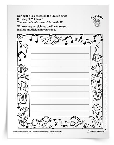Catechists and parents may want to encourage kids to use a familiar melody for their original lyrics. They also may want to record children performing their songs and compile a classroom or family album to enjoy and share! Download the Alleluia Easter Activity now! easter-resources-alleluia-activity-for-catholic-children-750px