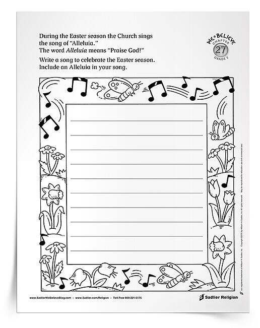 "Download a primary printable activity for use in the classroom or home and sing ""Alleluia"" with the children during the Easter season. Teaching Catholic kids in your religious education program to praise God through song will be a real high note!"