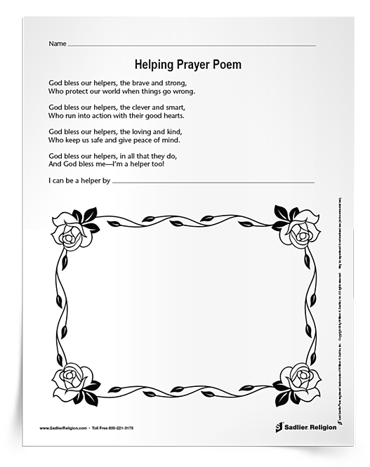 Download and share a printable Helping Prayer Poem Activity to help young children recognize what community helpers exemplify and do, and ways that they can be helpers to others.