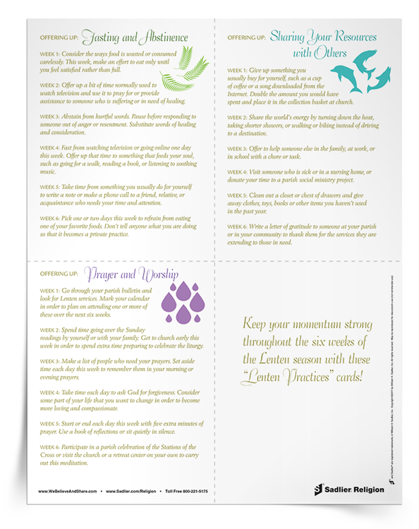 graphic relating to Articles of Faith Printable Cards identify 15+ No cost Components for Lent By yourself Will Delight in