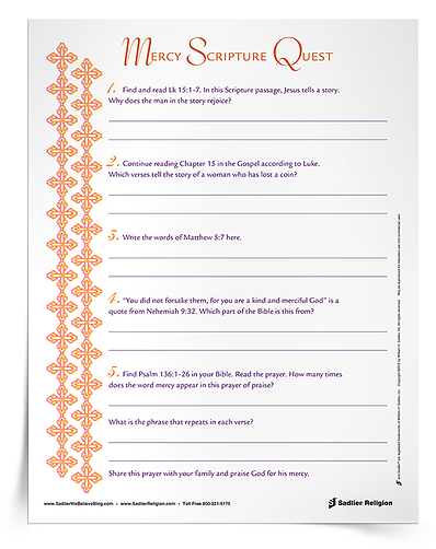 Catholic families can focus on the virtue of mercy during summer break with this Scripture activity!