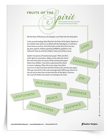 Enhance your Pentecost celebration with the Fruits of the Spirit Activity.