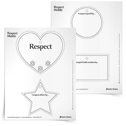 Reflect on the virtue of respect with your students! The Respect Mobile Activity invites children to illustrate ways to show respect for self, others, and creation and to assemble these ways into a single mobile.  respect-worksheets-for-kids-respect-mobile-750px