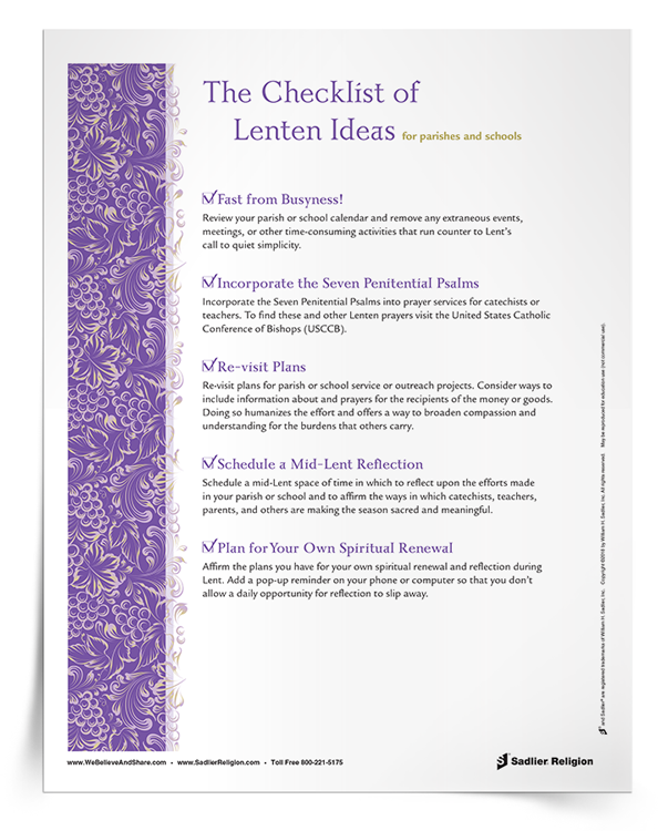 Download my Checklist of Lenten Ideas and use them to tweak your plans for Lent in your parish or school.