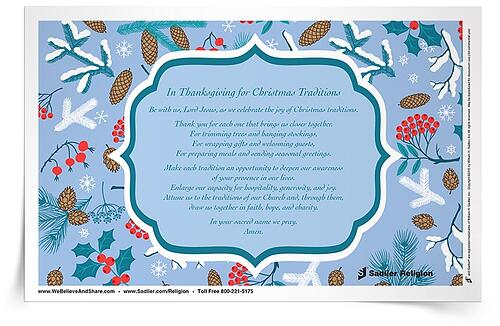 Download In Thanksgiving for Catholic Christmas Traditions Prayer Card. As you pray, inviting God into each Christmas tradition, reflect on the beauty of tradition during the Christmas season.