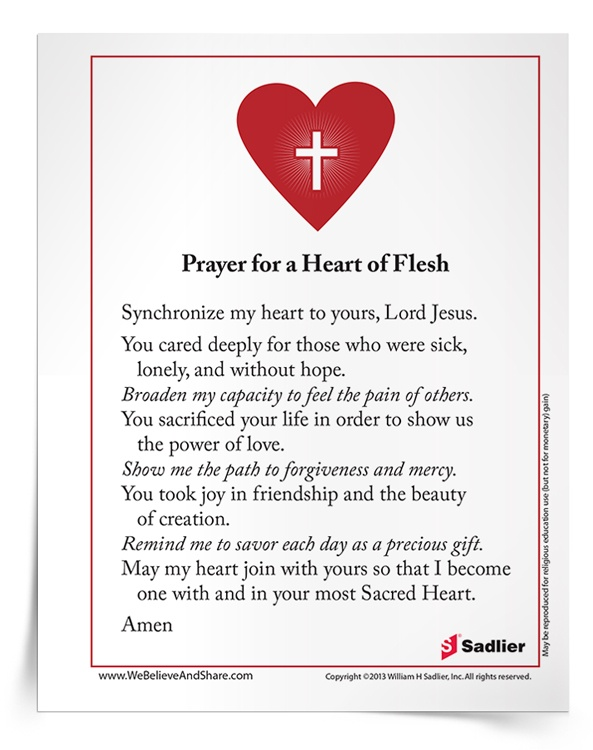 Download my prayer for Prayer for a Heart of Flesh and use with your students or family as a way to cultivate a heart of mercy.