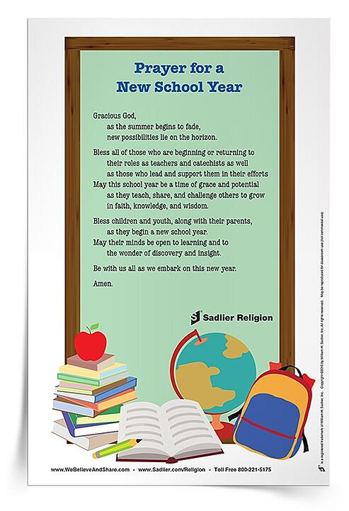 Download a Prayer for New School Year Prayer Card and use it with your children, school faculty, or with your parish catechists.