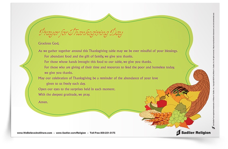 Download a Prayer for Thanksgiving Day Prayer Card and share it in your home or parish as a way to enlarge capacity for gratitude.