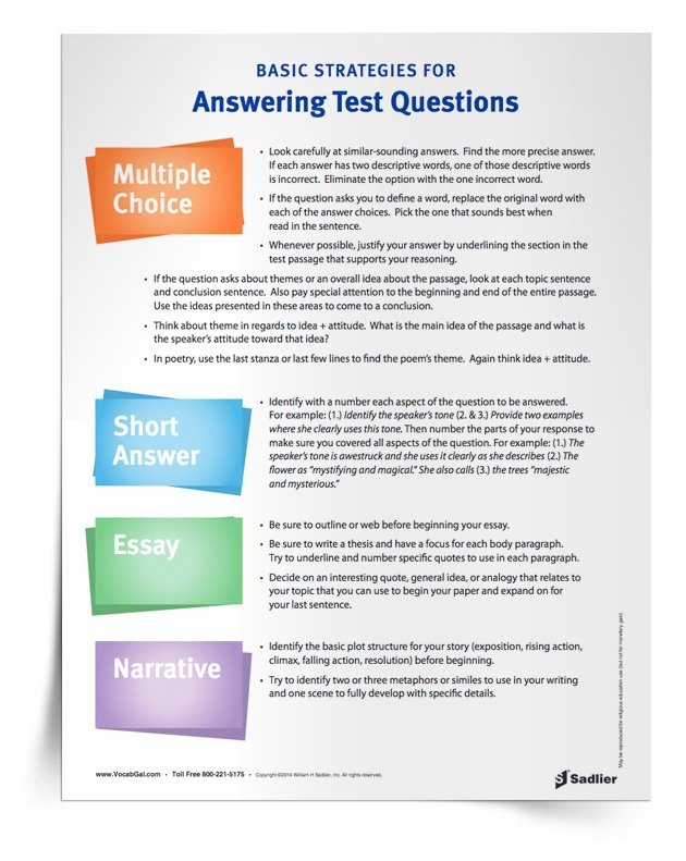 strategies for essay questions Exam essay questions require an answer that can vary from several  remember  on all essay questions you will answer (see exam strategies.