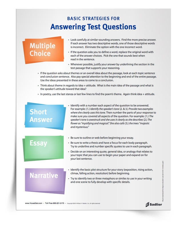 For older students, I have a list of suggestions for answer the various types of high-stakes test questions from multiple-choice to essay prompts.